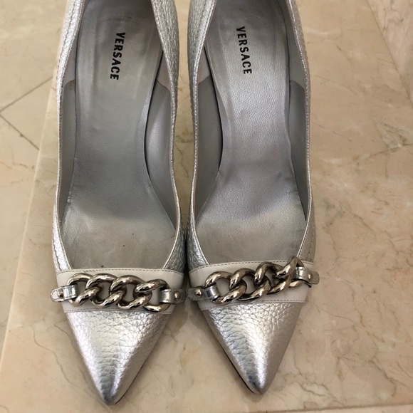 Silver High Heel Versace   Poshmark